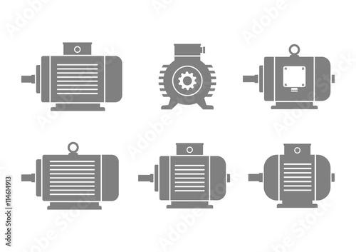 Obraz na plátne Grey electric motor icons on white background
