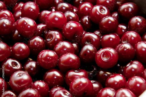 Sour cherries in a saucepan