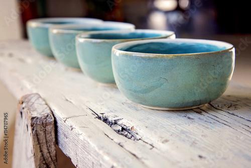 Hand made ceramic soup bowls Tapéta, Fotótapéta