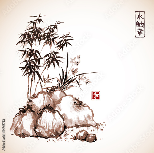 Little bamboo tree and wild orchid on rocks. Traditional Japanese ink painting sumi-e in vintage style. Contains hieroglyphs - eternity, freedom, happiness