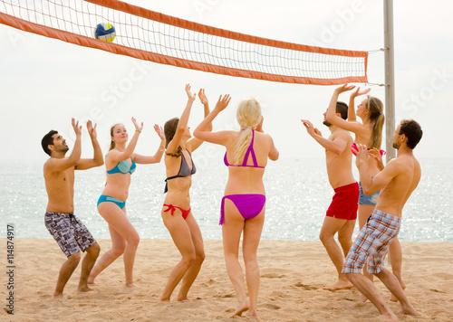 Obraz na plátně Přáteli, kteří hrají volejbal na pláži