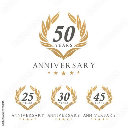 Fotografie, Obraz Vector set of anniversary golden signs logo