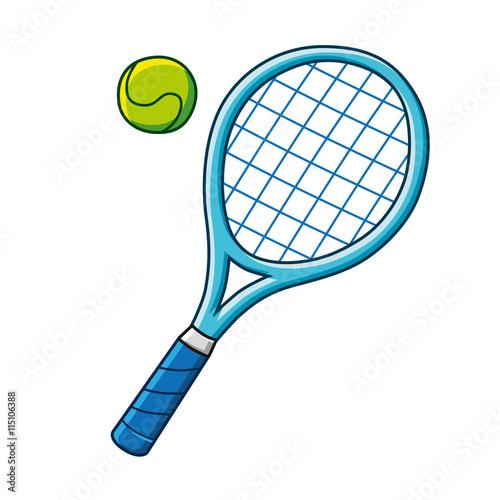 Photo Blue tennis racket and a tennis ball vector icon.