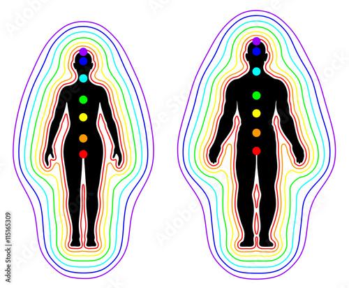 Obraz na płótnie Human aura and chakras on white background - vector illustration