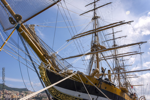 Wallpaper Mural Ropes and wood on the ship Amerigo Vespucci in Italy