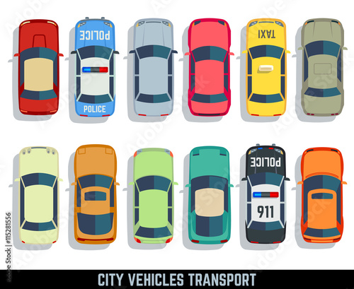 Cars top view vector flat city vehicle transport icons set. Automobile car for transportation, auto car icon illustration