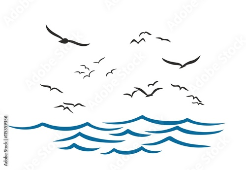 Canvas Print Sea with seagulls.