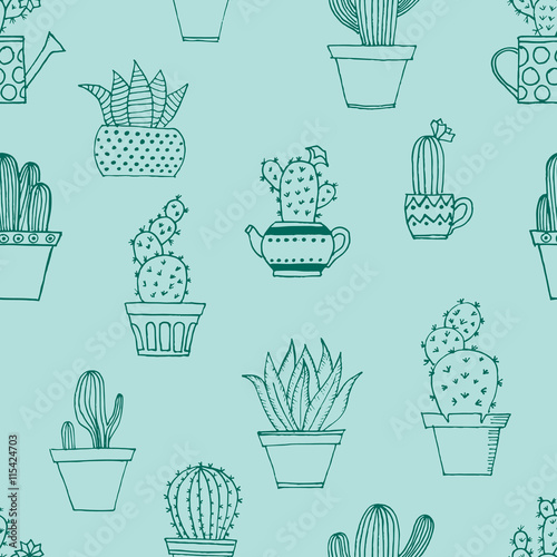 Hand drawn seamless pattern with cute cactus in simple style. Cute cartoon potted cacti pattern. Vector illustration.