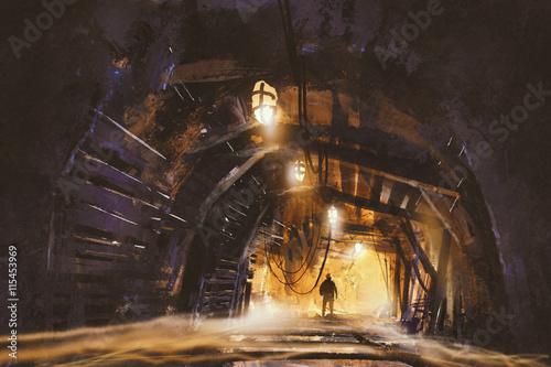 Photo inside of the mine shaft with fog,illustration,digital painting