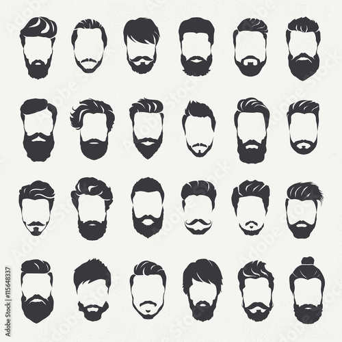 Stampa su Tela Hipster hair style and beards, Men fashion vector for barbershop and logo templa