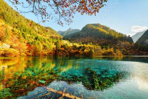 Fantastic view of the Five Flower Lake among beautiful mountains