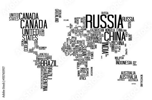 Mapa świata z nazwami krajów, list świata, typografia świata