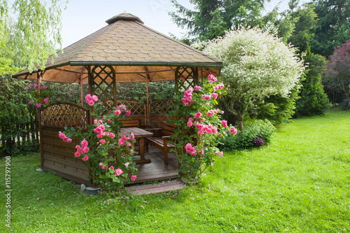 Photographie Outdoor wooden gazebo with roses and summer landscape background