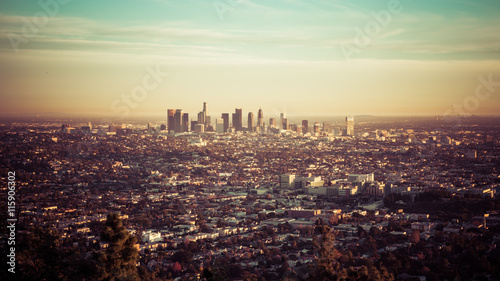 Canvas Print Los Angeles skyline at the sunset