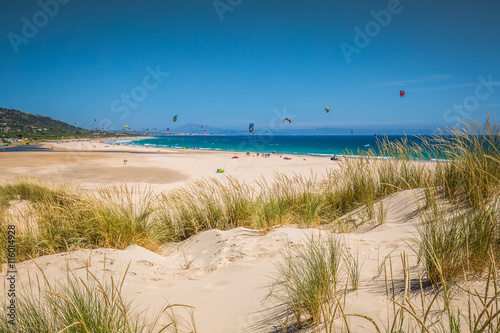 Carta da parati Valdevaqueros beach in spain with africa at horizon