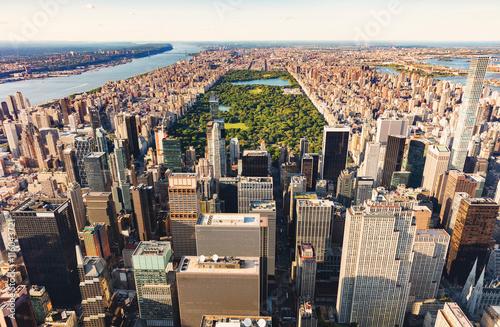 Photographie Vue aérienne de Central Park NYC au coucher du soleil