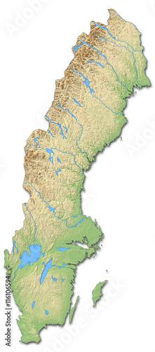 Photo Relief map of Sweden - 3D-Rendering
