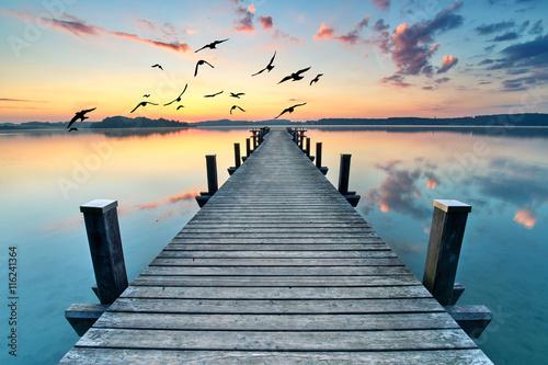 Carta da parati Sommermorgen am See, Badesteg in morgendlicher Stille
