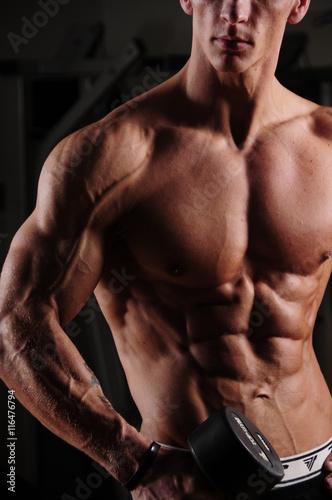 Fototapeta premium siłownia, fitness, Athletic, men's, portret, body, ciało, sylwetka, gym, workout, model