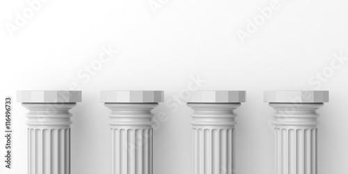 Fotografie, Obraz Four white marble pillars. 3d illustration