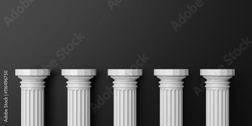 Fotografie, Obraz Five white color marble pillars against black wall background