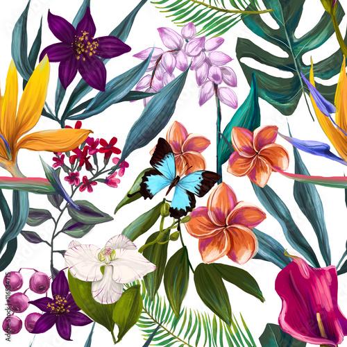 Fototapeta Egzotyczny kwiaty akwarela na białym tle na wymiar