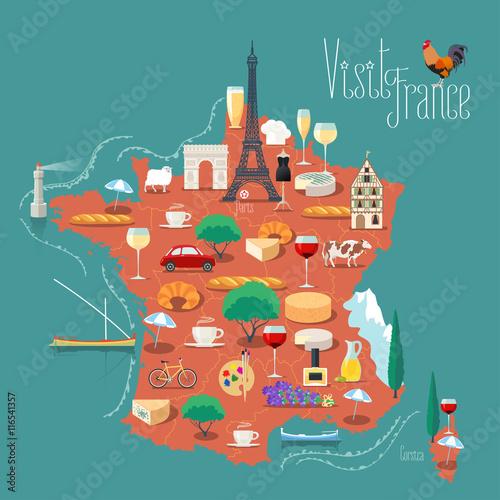 Fotografia Map of France vector illustration, design