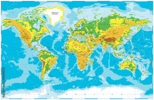 Physical World Map Fotobehang