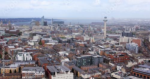 Billede på lærred An Aerial View of Liverpool Looking Northwest