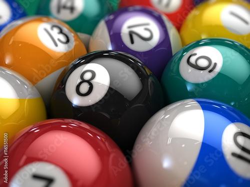 Obraz na plátně Closeup of Billiard balls on a pool table - 3d illustration