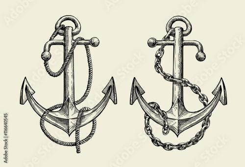 Hand drawn nautical anchor. Vector illustration Fototapeta