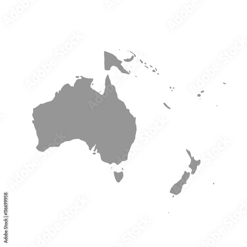 Photo Map of Oceania in gray on a white background