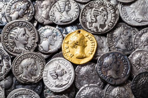 Coins of the Roman Empire, gold and silver. Fototapeta