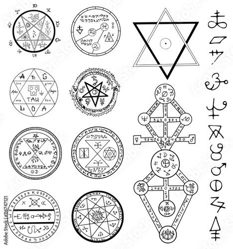 Canvas Print Mystic set with magic circles, pentagram and symbols