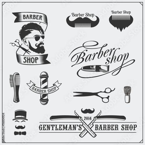 Fotografia ŸSet of vintage Barber shop labels, badges, emblems and design elements
