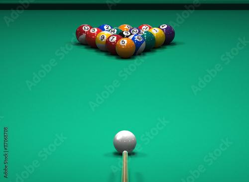 Fotografie, Obraz American Pool billiard game. 3d illustration