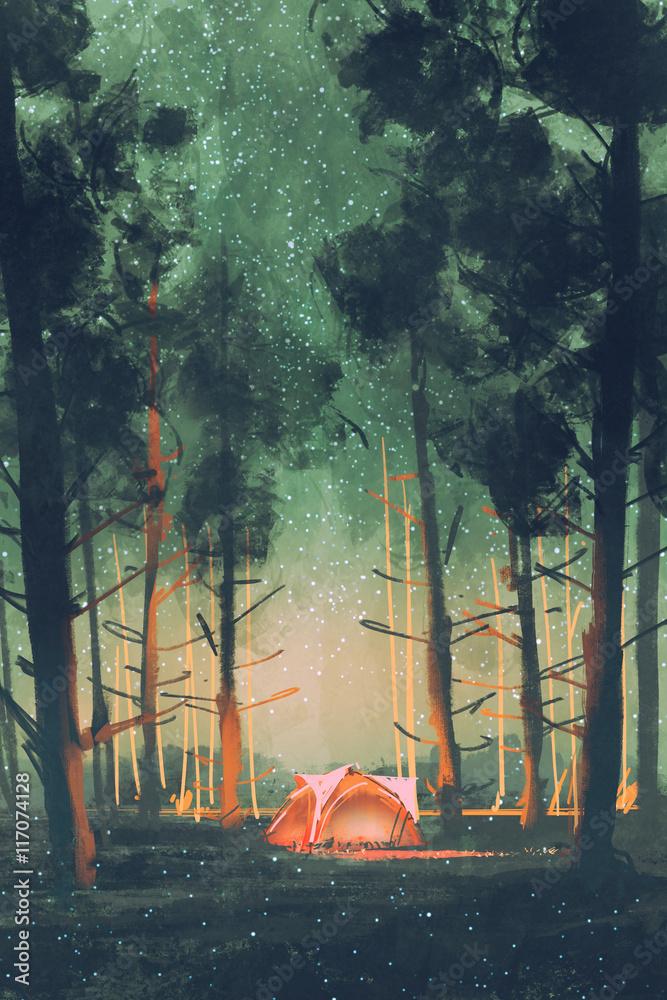 camping w lesie w nocy z gwiazdami i świetliki, ilustracja, malarstwo cyfrowe <span>plik: #117074128   autor: grandfailure</span>