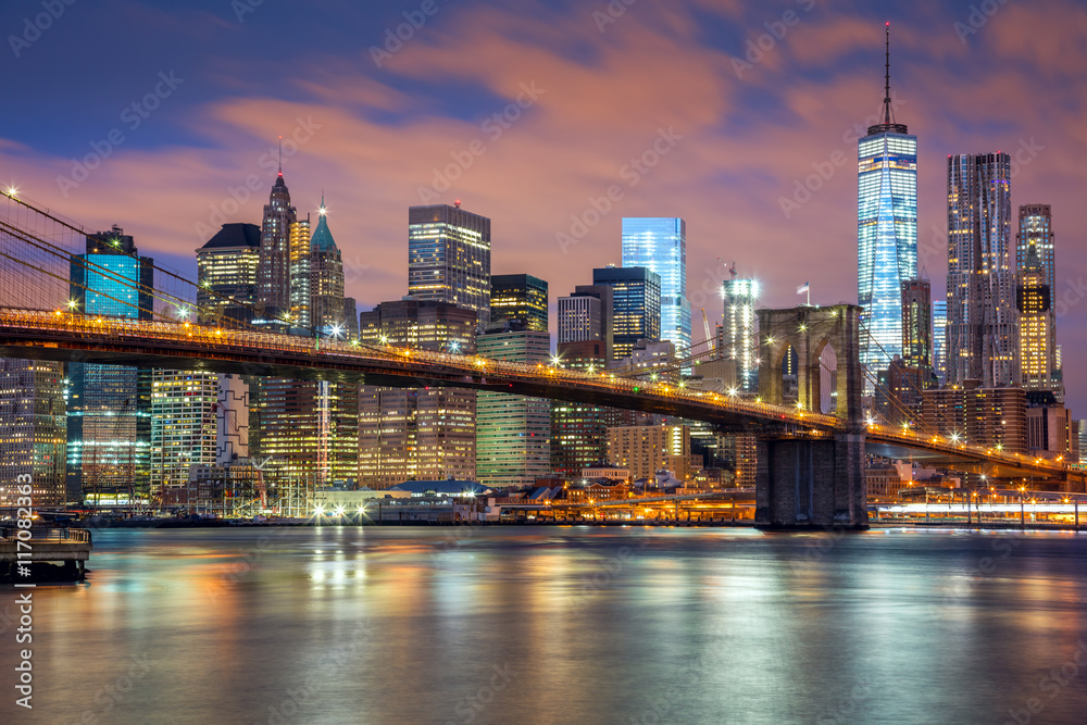 New York City - great illumination and colorful clouds