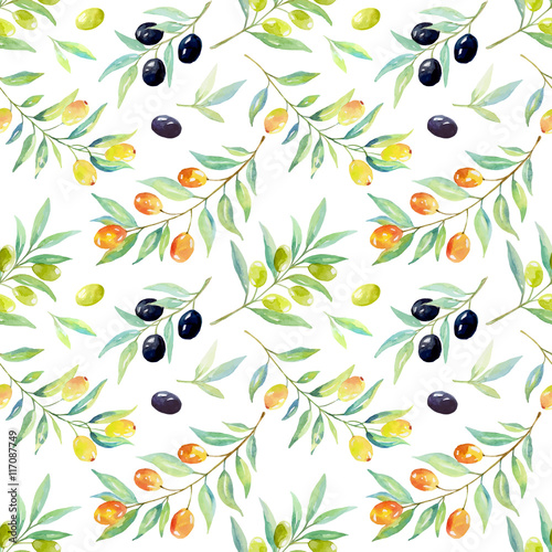 Fototapeta Seamless floral pattern with berries and olives.