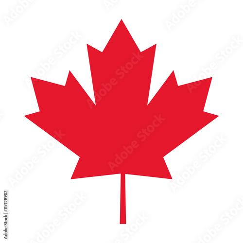 Fototapeta flat design canada flag maple leaf icon vector illustration