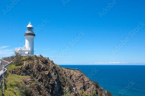 Sunny day Lighthouse at Byron bay australia. Fototapet