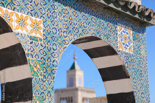 Islamic ceramic decoration pattern on the wall in Tunis, the cap