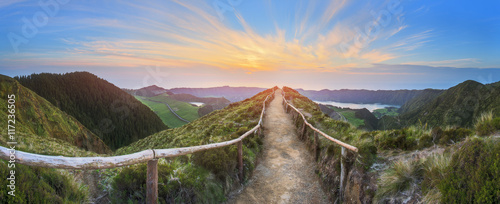 Fotografie, Obraz Mountain landscape with hiking trail and view of beautiful lakes, Ponta Delgada,