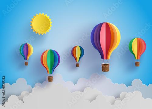 colorful hot air balloon and cloud. Fototapeta