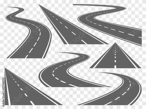Canvas Print Bending roads vector set
