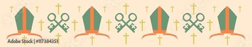 Fotografia, Obraz Bishop mitre and crosses. Vector illustration. Catholic symbols