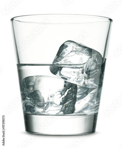 Obraz na płótnie Glass of vodka with ice on white background