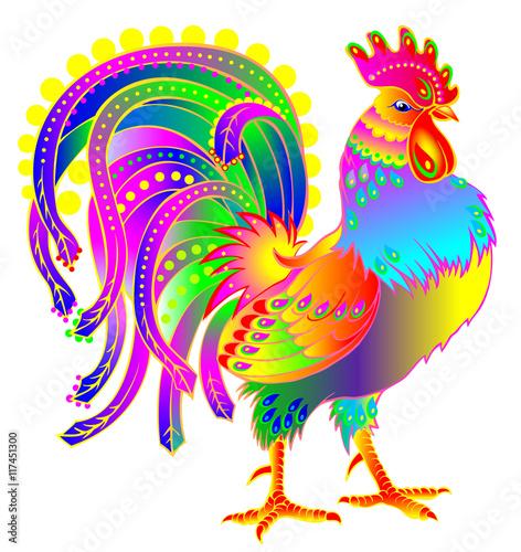 Carta da parati Illustration of beautiful fantasy cock on white background, vector cartoon image