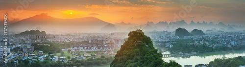 Fotografia Landscape of Guilin, Li River and Karst mountains