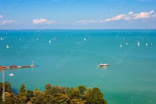 Fototapeta Lake Balaton with lots of ships
